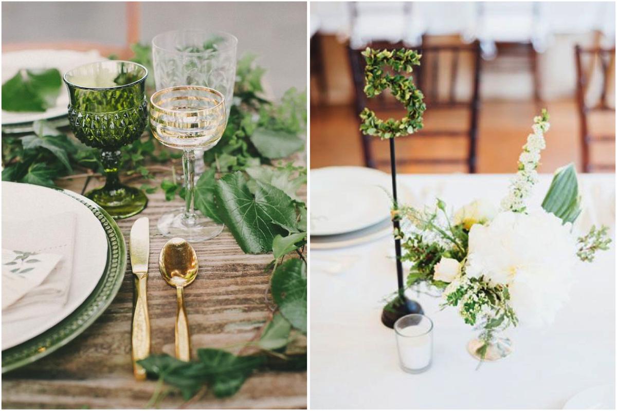 Decoración de mesas para bodas en greenery