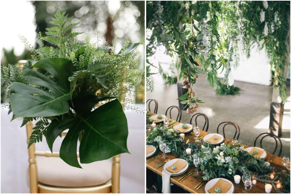 Decoración de mesas con plantas